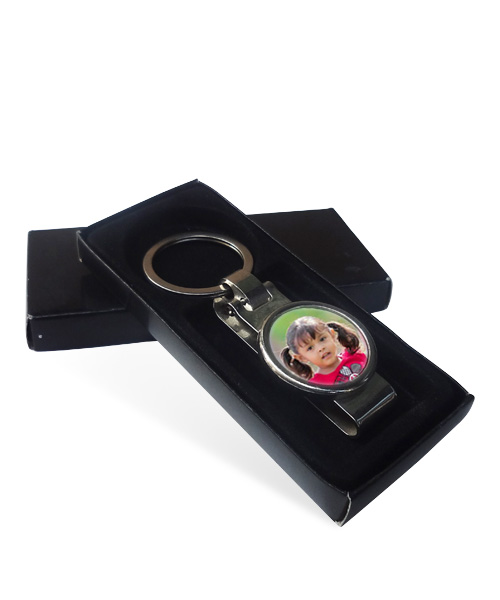 Metal Round Keychain with Clip Gift
