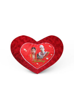 Red Fur Heart Shape Photo Cushion Gift Buy Shop Send Online Kathmandu Nepal
