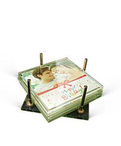 personalized glass tea coaster