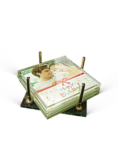 Glass Tea Coaster: Sq Gift