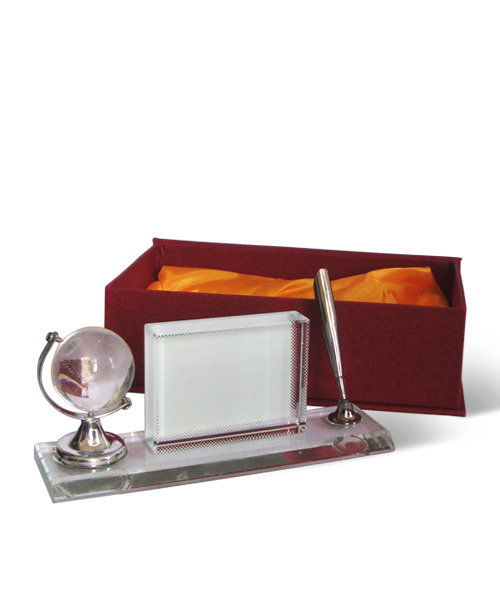 Pen Stand Crystal with Globe