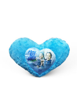 Blue Fur Heart Shape Photo Cushion Gift Buy Shop Send Online Kathmandu Nepal