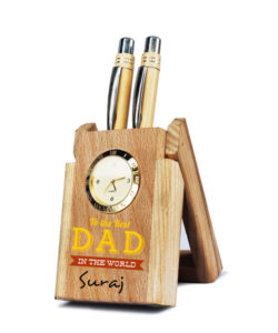 Pen Stand Wooden with Clock Gift Buy Shop Send Online Kathmandu Nepal